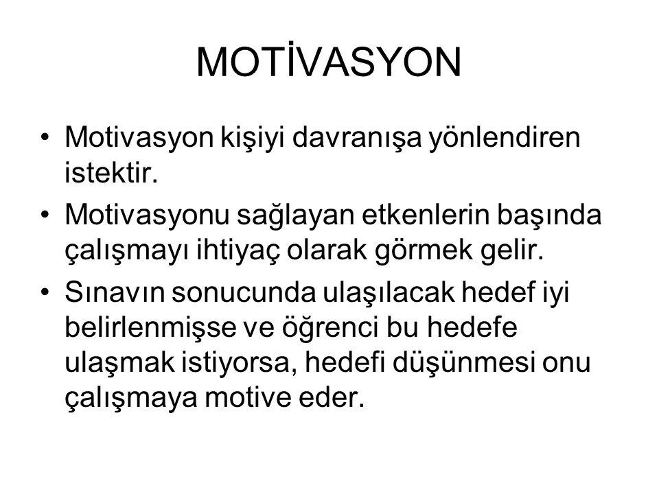 MOTİVASYON Motivasyon kişiyi davranışa yönlendiren istektir. Motivasyonu sağlayan etkenlerin başında çalışmayı ihtiyaç olarak görmek gelir. Sınavın so