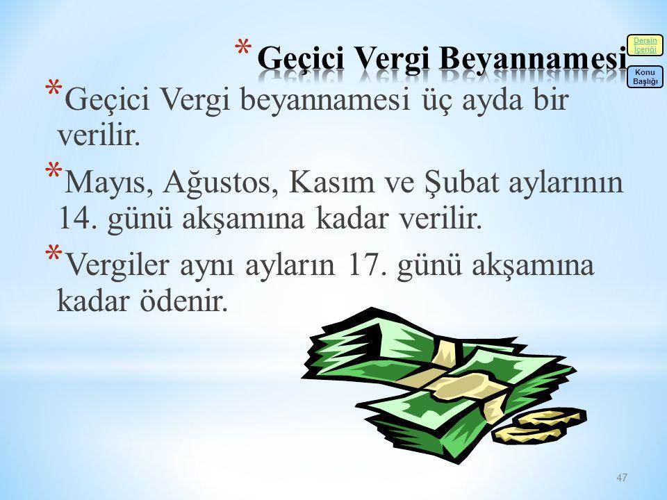 47 * Geçici Vergi beyannamesi üç ayda bir verilir.