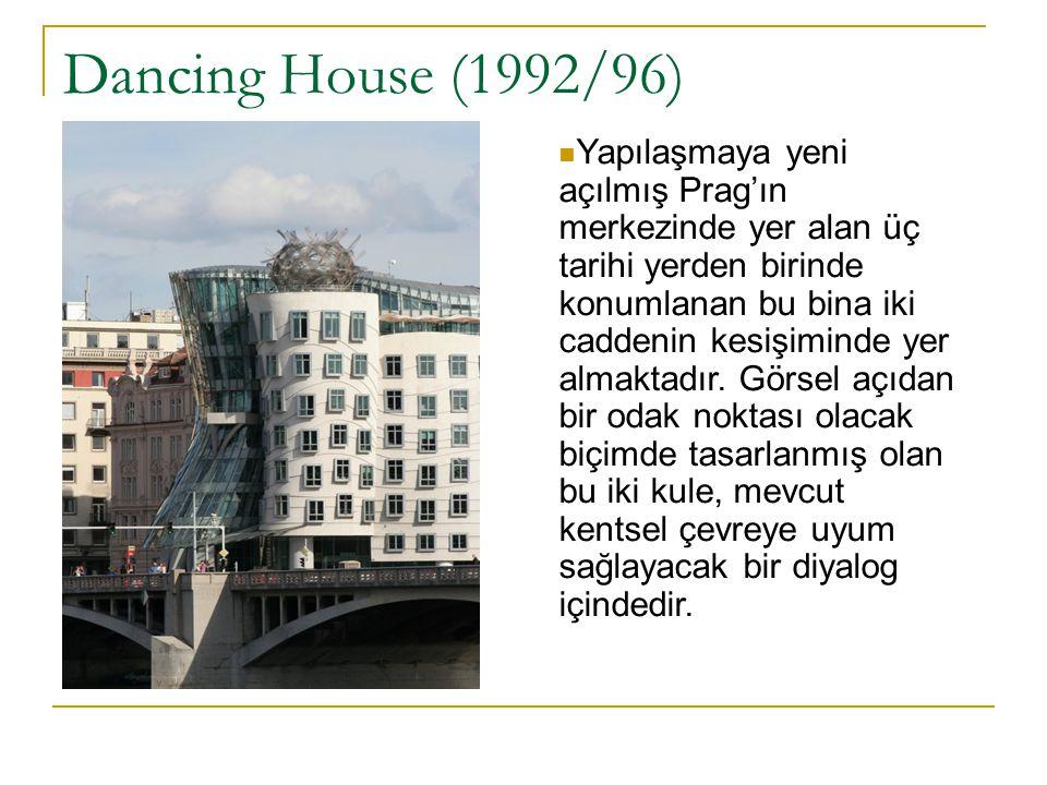 Dancing House (1992/96) Yapılaşmaya yeni açılmış Prag'ın merkezinde yer alan üç tarihi yerden birinde konumlanan bu bina iki caddenin kesişiminde yer