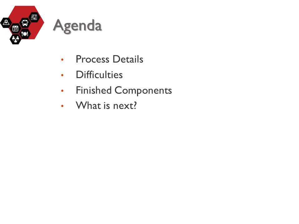 Agenda Process Details Difficulties Finished Components What is next