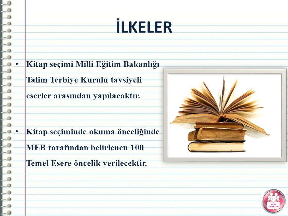 Kitap seçimi Milli Eğitim Bakanlığı Talim Terbiye Kurulu tavsiyeli eserler arasından yapılacaktır.