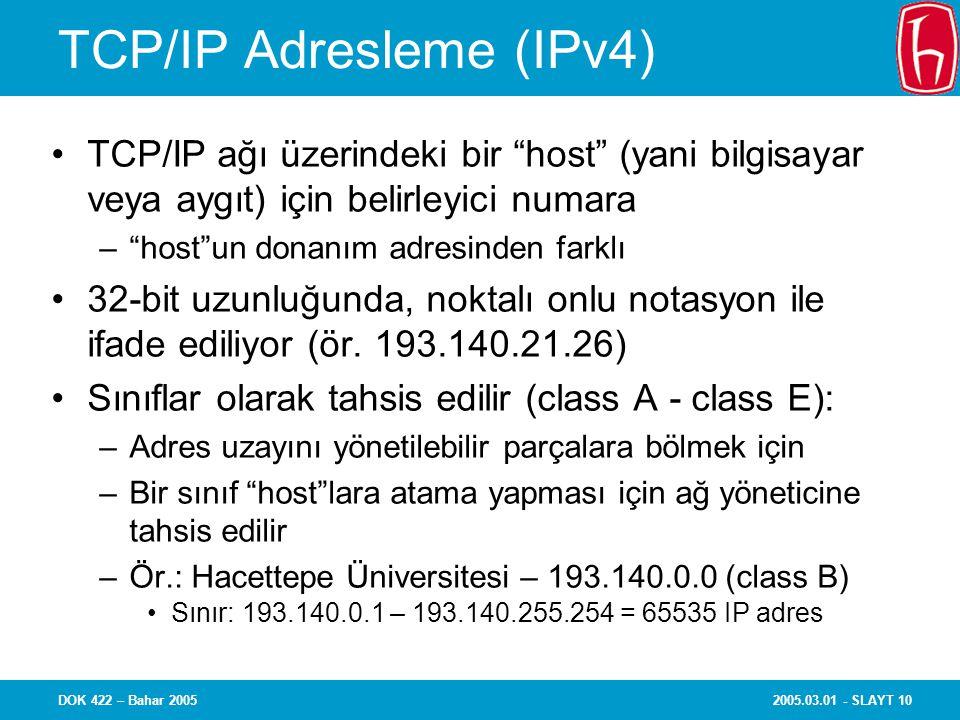 2005.03.01 - SLAYT 10DOK 422 – Bahar 2005 TCP/IP Adresleme (IPv4) TCP/IP ağı üzerindeki bir host (yani bilgisayar veya aygıt) için belirleyici numara – host un donanım adresinden farklı 32-bit uzunluğunda, noktalı onlu notasyon ile ifade ediliyor (ör.