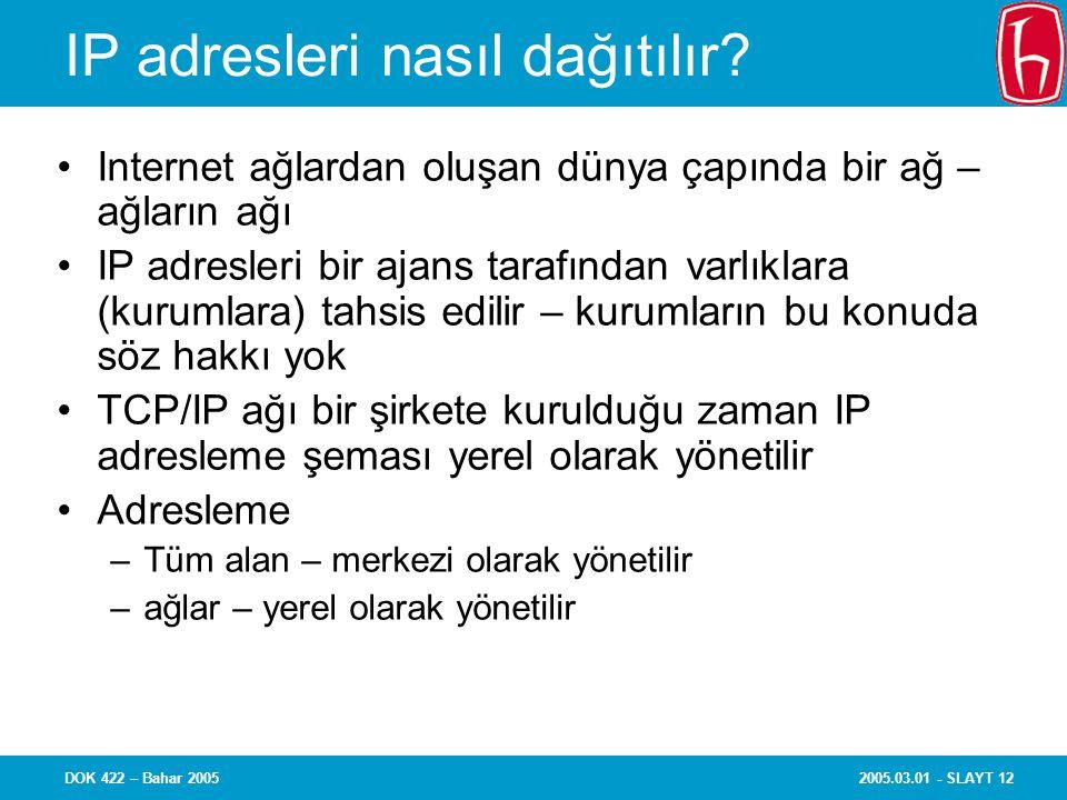 2005.03.01 - SLAYT 12DOK 422 – Bahar 2005 IP adresleri nasıl dağıtılır? Internet ağlardan oluşan dünya çapında bir ağ – ağların ağı IP adresleri bir a