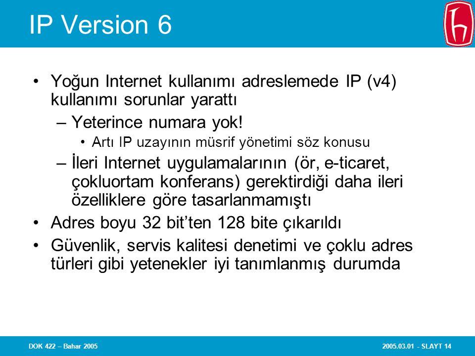 2005.03.01 - SLAYT 14DOK 422 – Bahar 2005 IP Version 6 Yoğun Internet kullanımı adreslemede IP (v4) kullanımı sorunlar yarattı –Yeterince numara yok.