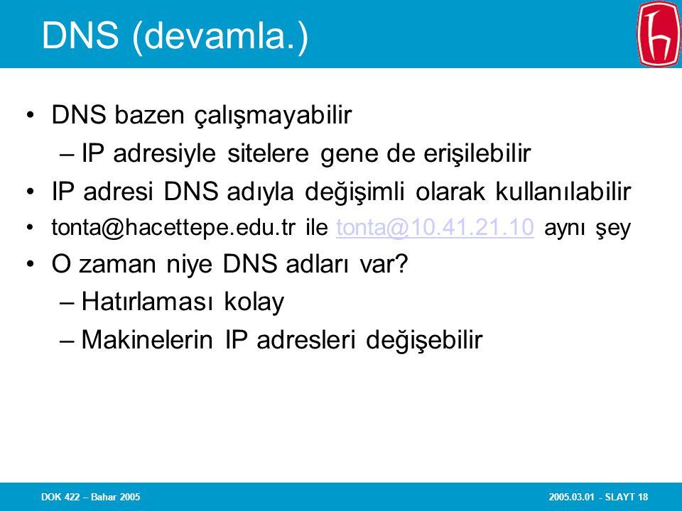 2005.03.01 - SLAYT 18DOK 422 – Bahar 2005 DNS (devamla.) DNS bazen çalışmayabilir –IP adresiyle sitelere gene de erişilebilir IP adresi DNS adıyla değişimli olarak kullanılabilir tonta@hacettepe.edu.tr ile tonta@10.41.21.10 aynı şeytonta@10.41.21.10 O zaman niye DNS adları var.
