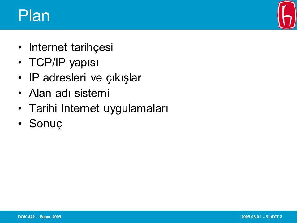 2005.03.01 - SLAYT 13DOK 422 – Bahar 2005 IP adreslerinin atanması IP adres uzayı hiyerarşik olarak dağıtılır Internet Atanmış Numaralar Yetkili kuruluşu (Internet Assigned Numbers Authority - IANA) Bölgesel Internet Kayıt (Regional Internet Registries) yetkililerine blok olarak IP adres uzayı ahsis eder RIR'ler son kullanıcılara adres veren Yerel Internet Kayıt yetkililerine (Local Internet Registries ) (ör., ISS'ler) blok olarak IP adres uzayı tahsis ederler Halen üç RIR vardır: –APNIC (Asia-Pacific Network Information Center) Asya-Pasifik –ARIN (American Registry for Internet Numbers ) Kuzey Amerika –RIPE NCC (Reseau IP Europeens) Avrupa