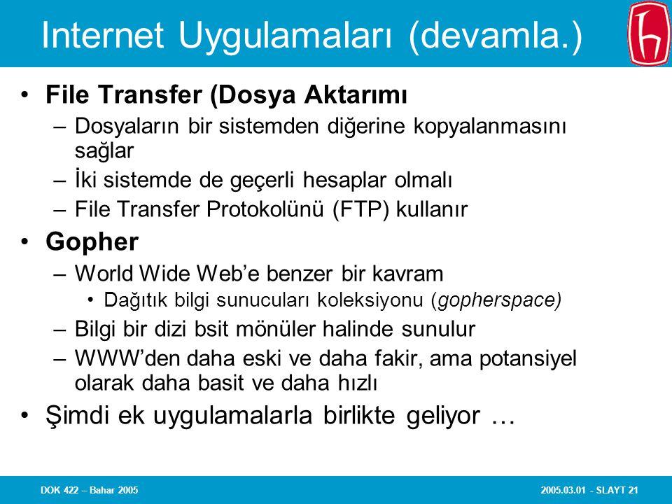 2005.03.01 - SLAYT 21DOK 422 – Bahar 2005 Internet Uygulamaları (devamla.) File Transfer (Dosya Aktarımı –Dosyaların bir sistemden diğerine kopyalanmasını sağlar –İki sistemde de geçerli hesaplar olmalı –File Transfer Protokolünü (FTP) kullanır Gopher –World Wide Web'e benzer bir kavram Dağıtık bilgi sunucuları koleksiyonu (gopherspace) –Bilgi bir dizi bsit mönüler halinde sunulur –WWW'den daha eski ve daha fakir, ama potansiyel olarak daha basit ve daha hızlı Şimdi ek uygulamalarla birlikte geliyor …