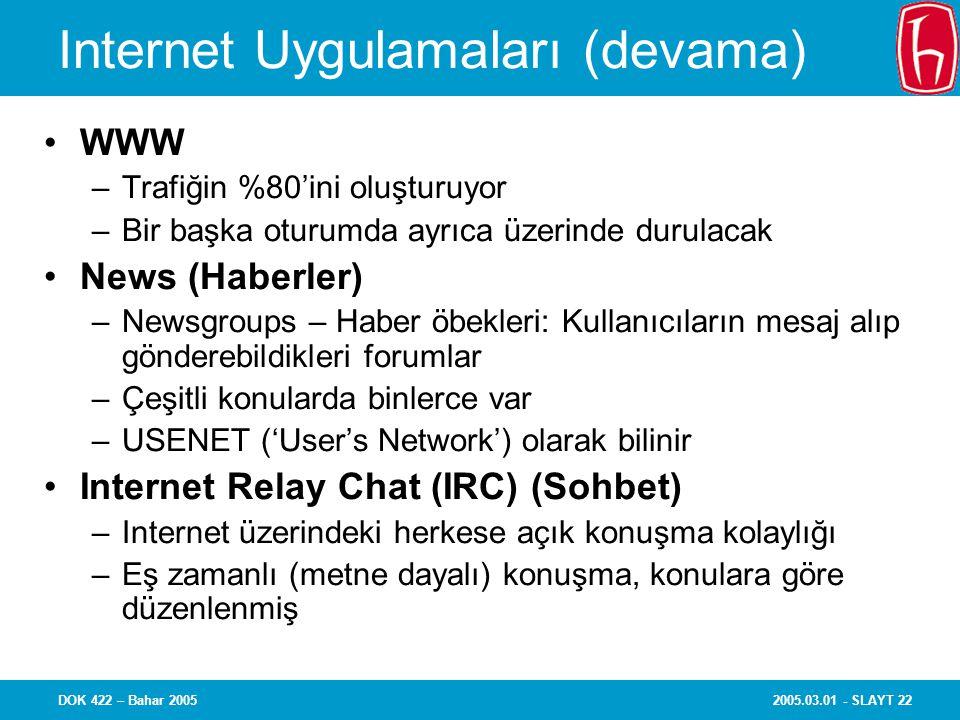 2005.03.01 - SLAYT 22DOK 422 – Bahar 2005 Internet Uygulamaları (devama) WWW –Trafiğin %80'ini oluşturuyor –Bir başka oturumda ayrıca üzerinde durulacak News (Haberler) –Newsgroups – Haber öbekleri: Kullanıcıların mesaj alıp gönderebildikleri forumlar –Çeşitli konularda binlerce var –USENET ('User's Network') olarak bilinir Internet Relay Chat (IRC) (Sohbet) –Internet üzerindeki herkese açık konuşma kolaylığı –Eş zamanlı (metne dayalı) konuşma, konulara göre düzenlenmiş
