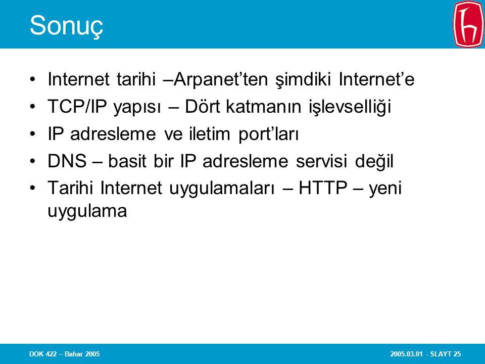 2005.03.01 - SLAYT 25DOK 422 – Bahar 2005 Sonuç Internet tarihi –Arpanet'ten şimdiki Internet'e TCP/IP yapısı – Dört katmanın işlevselliği IP adresleme ve iletim port'ları DNS – basit bir IP adresleme servisi değil Tarihi Internet uygulamaları – HTTP – yeni uygulama
