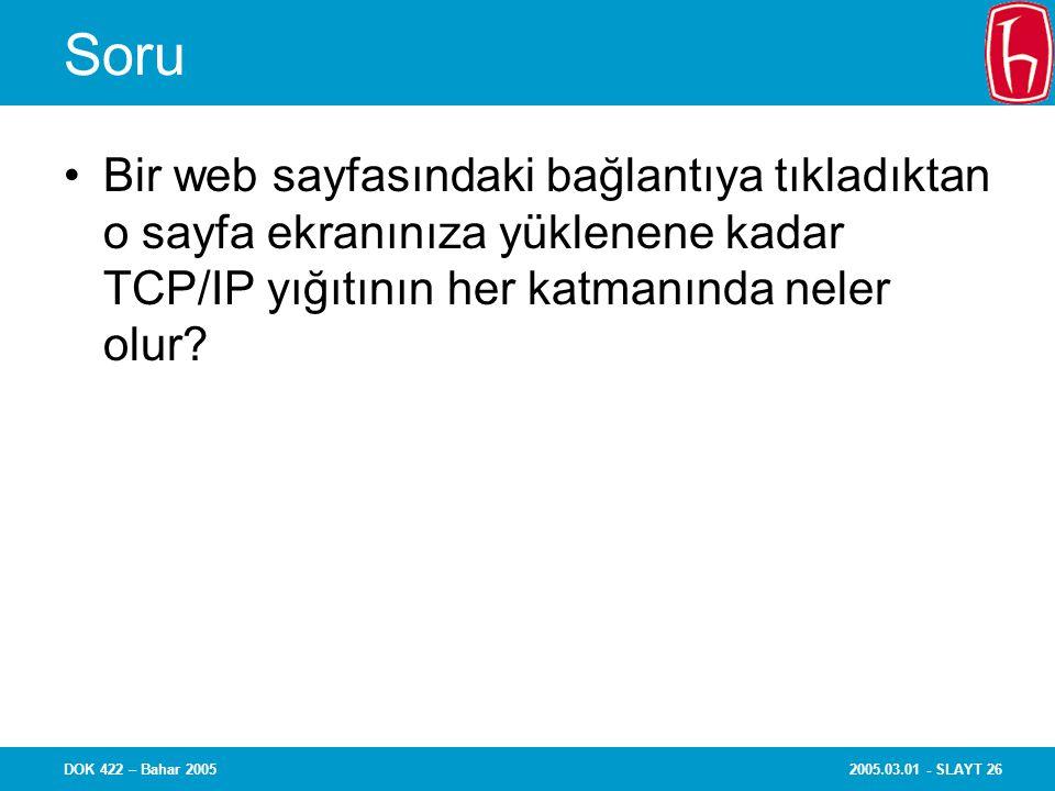2005.03.01 - SLAYT 26DOK 422 – Bahar 2005 Soru Bir web sayfasındaki bağlantıya tıkladıktan o sayfa ekranınıza yüklenene kadar TCP/IP yığıtının her katmanında neler olur