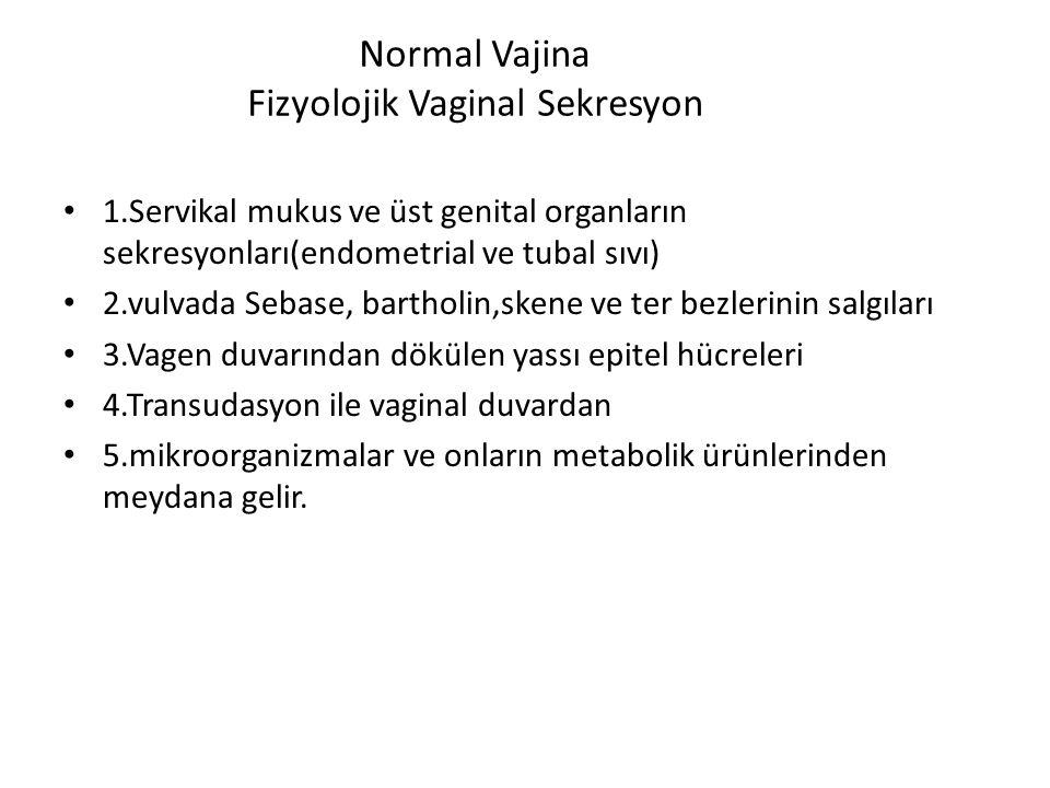Normal Vajina Fizyolojik Vaginal Sekresyon 1.Servikal mukus ve üst genital organların sekresyonları(endometrial ve tubal sıvı) 2.vulvada Sebase, bartholin,skene ve ter bezlerinin salgıları 3.Vagen duvarından dökülen yassı epitel hücreleri 4.Transudasyon ile vaginal duvardan 5.mikroorganizmalar ve onların metabolik ürünlerinden meydana gelir.