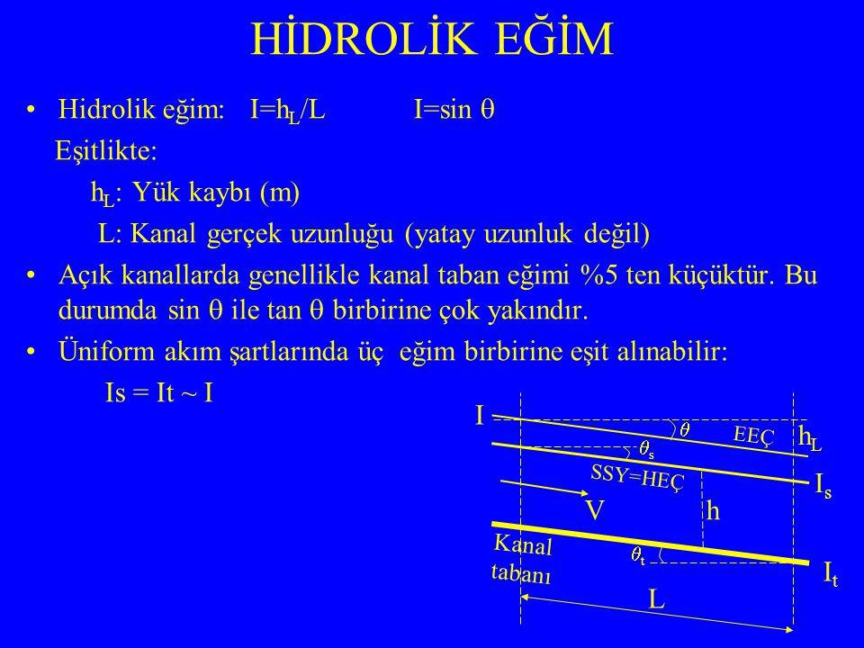 Hidrolik eğim: I=h L /L I=sin  Eşitlikte: h L : Yük kaybı (m) L: Kanal gerçek uzunluğu (yatay uzunluk değil) Açık kanallarda genellikle kanal taban eğimi %5 ten küçüktür.