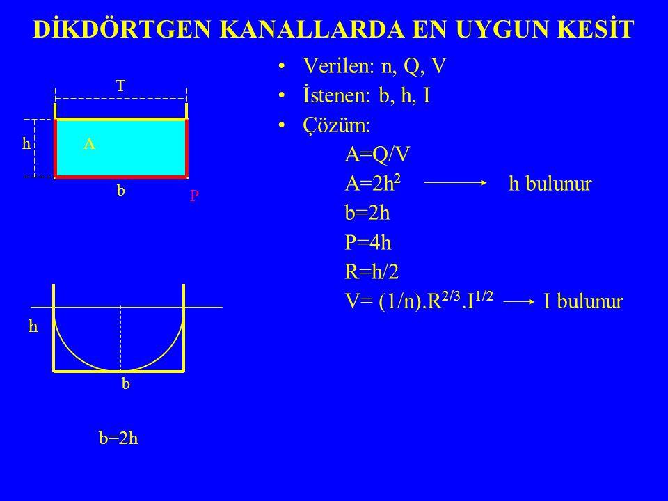 DİKDÖRTGEN KANALLARDA EN UYGUN KESİT Verilen: n, Q, V İstenen: b, h, I Çözüm: A=Q/V A=2h 2 h bulunur b=2h P=4h R=h/2 V= (1/n).R 2/3.I 1/2 I bulunur P T h b A b b=2h h