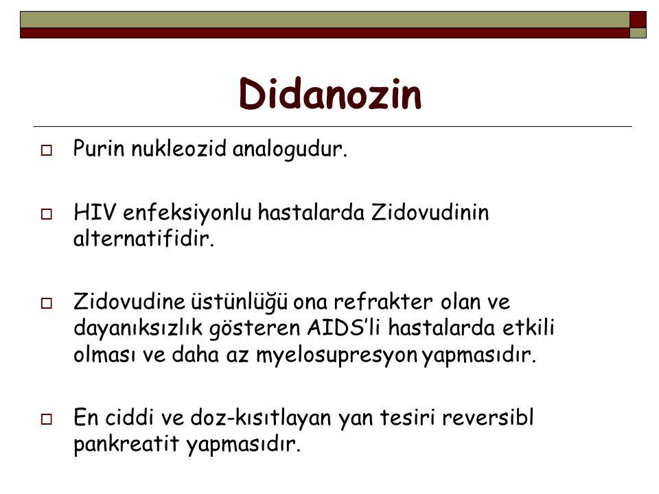 Didanozin  Purin nukleozid analogudur. HIV enfeksiyonlu hastalarda Zidovudinin alternatifidir.