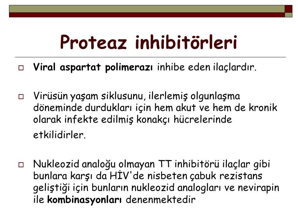 Proteaz inhibitörleri  Viral aspartat polimerazı inhibe eden ilaçlardır.