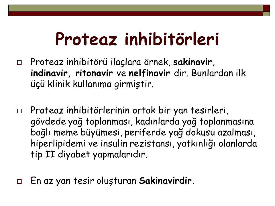 Proteaz inhibitörleri  Proteaz inhibitörü ilaçlara örnek, sakinavir, indinavir, ritonavir ve nelfinavir dir.