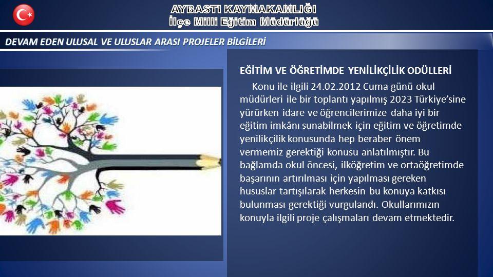 DEVAM EDEN ULUSAL VE ULUSLAR ARASI PROJELER BİLGİLERİ EĞİTİM VE ÖĞRETİMDE YENİLİKÇİLİK ODÜLLERİ Konu ile ilgili 24.02.2012 Cuma günü okul müdürleri ile bir toplantı yapılmış 2023 Türkiye'sine yürürken idare ve öğrencilerimize daha iyi bir eğitim imkânı sunabilmek için eğitim ve öğretimde yenilikçilik konusunda hep beraber önem vermemiz gerektiği konusu anlatılmıştır.
