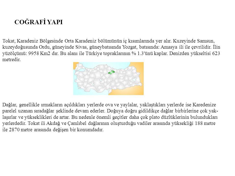 COĞRAFİ YAPI Tokat, Karadeniz Bölgesinde Orta Karadeniz bölümünün iç kısımlarında yer alır. Kuzeyinde Samsun, kuzeydoğusunda Ordu, güneyinde Sivas, gü