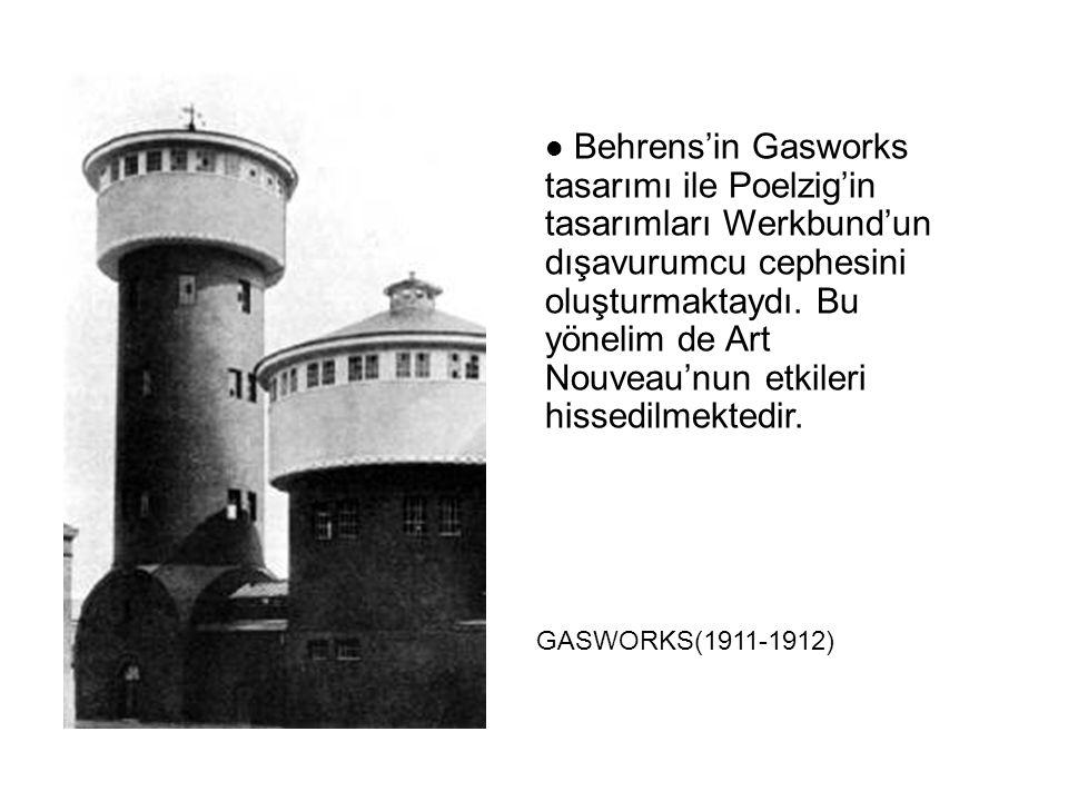 Behrens'in Gasworks tasarımı ile Poelzig'in tasarımları Werkbund'un dışavurumcu cephesini oluşturmaktaydı. Bu yönelim de Art Nouveau'nun etkileri hiss