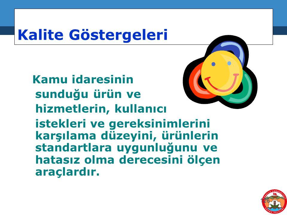 126 Kalite Göstergeleri Kamu idaresinin sunduğu ürün ve hizmetlerin, kullanıcı istekleri ve gereksinimlerini karşılama düzeyini, ürünlerin standartlar