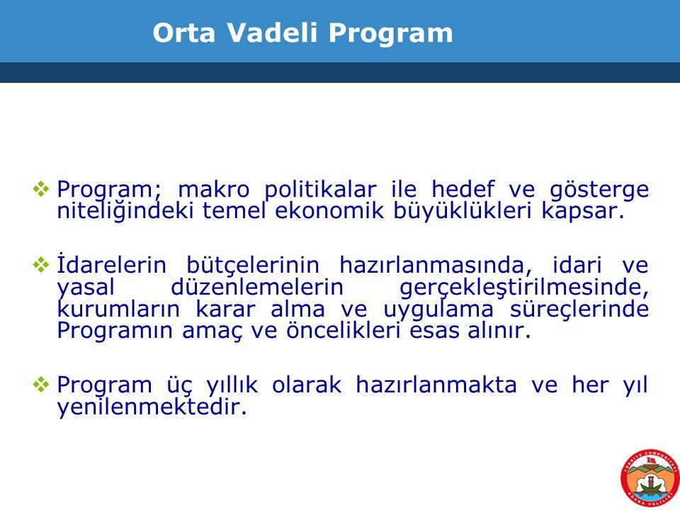 Orta Vadeli Program  Program; makro politikalar ile hedef ve gösterge niteliğindeki temel ekonomik büyüklükleri kapsar.  İdarelerin bütçelerinin haz