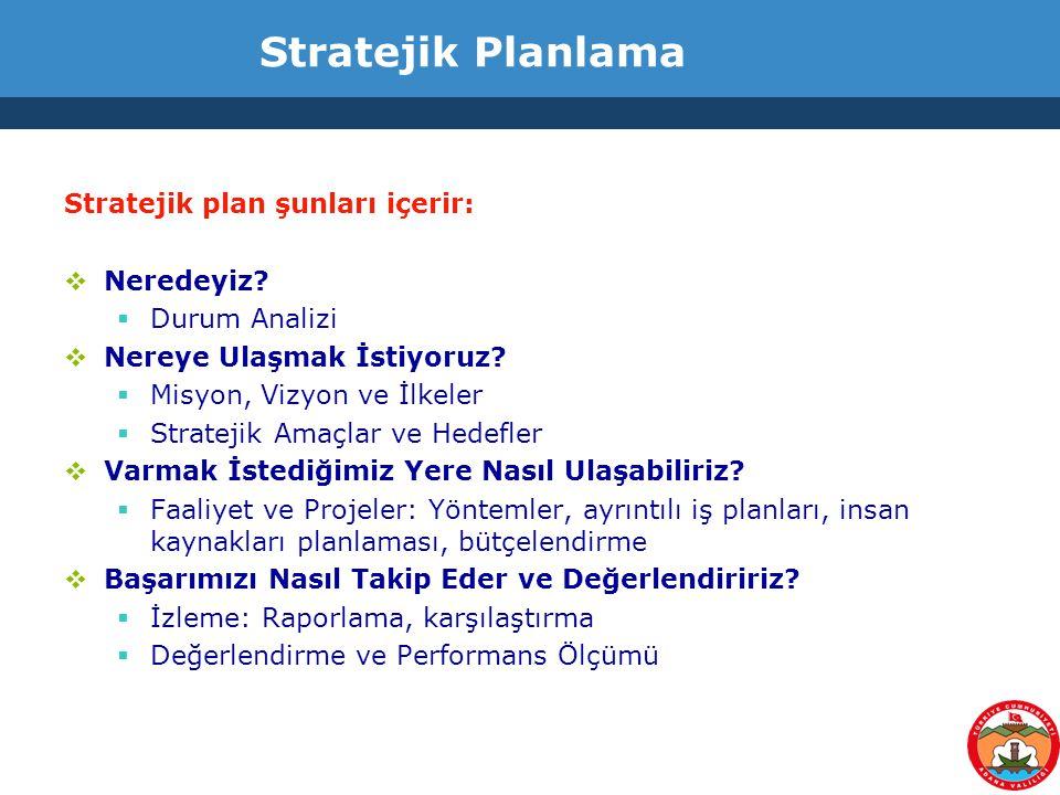 Stratejik Planlama Stratejik plan şunları içerir:  Neredeyiz?  Durum Analizi  Nereye Ulaşmak İstiyoruz?  Misyon, Vizyon ve İlkeler  Stratejik Ama