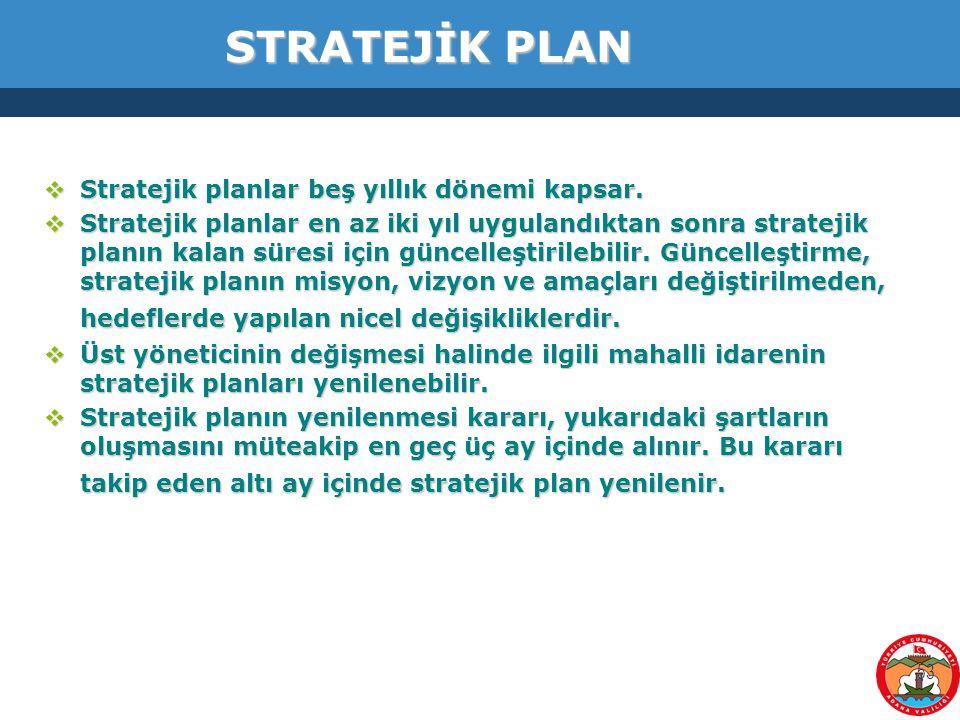 53 STRATEJİK PLAN  Stratejik planlar beş yıllık dönemi kapsar.  Stratejik planlar en az iki yıl uygulandıktan sonra stratejik planın kalan süresi iç