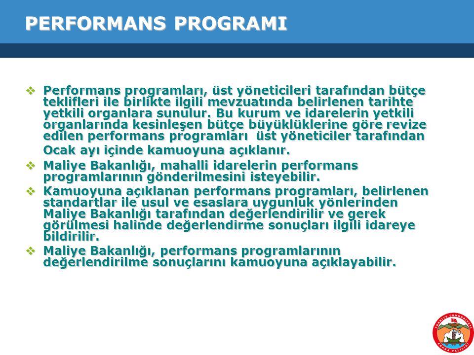 56 PERFORMANS PROGRAMI  Performans programları, üst yöneticileri tarafından bütçe teklifleri ile birlikte ilgili mevzuatında belirlenen tarihte yetki