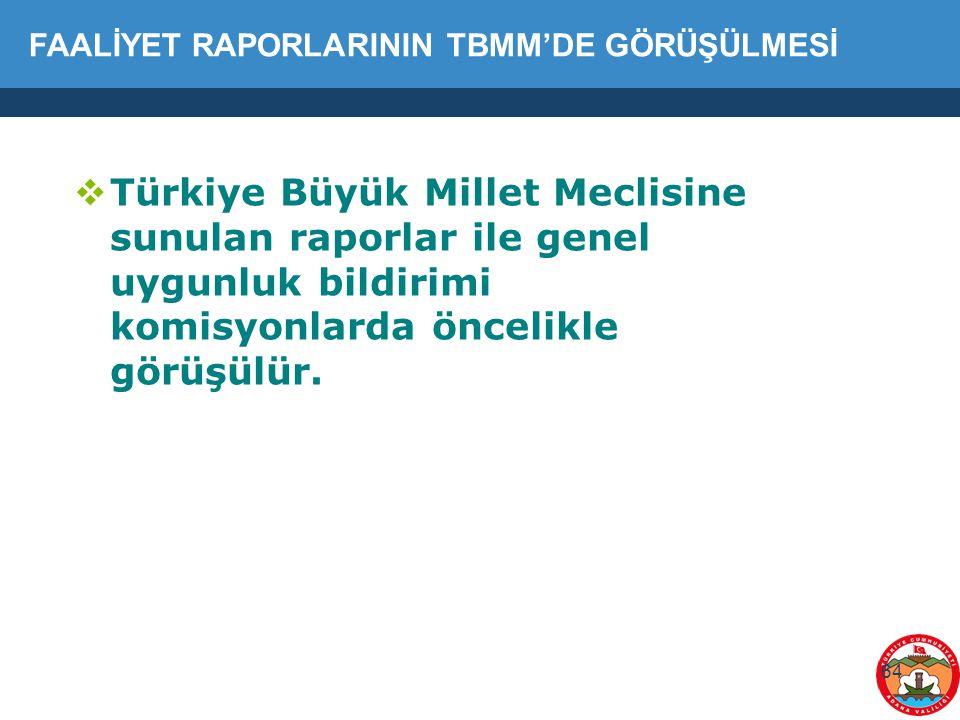 64  Türkiye Büyük Millet Meclisine sunulan raporlar ile genel uygunluk bildirimi komisyonlarda öncelikle görüşülür. FAALİYET RAPORLARININ TBMM'DE GÖR