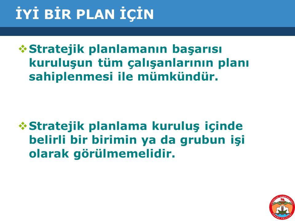 İYİ BİR PLAN İÇİN  Stratejik planlamanın başarısı kuruluşun tüm çalışanlarının planı sahiplenmesi ile mümkündür.  Stratejik planlama kuruluş içinde
