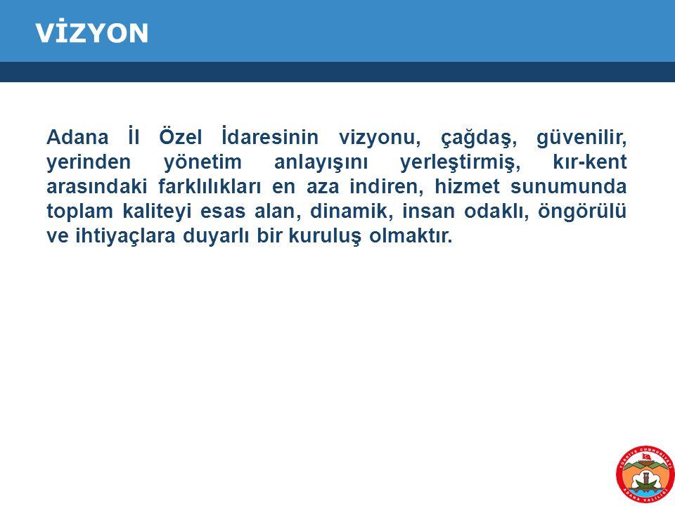 Adana İl Özel İdaresinin vizyonu, çağdaş, güvenilir, yerinden yönetim anlayışını yerleştirmiş, kır-kent arasındaki farklılıkları en aza indiren, hizme