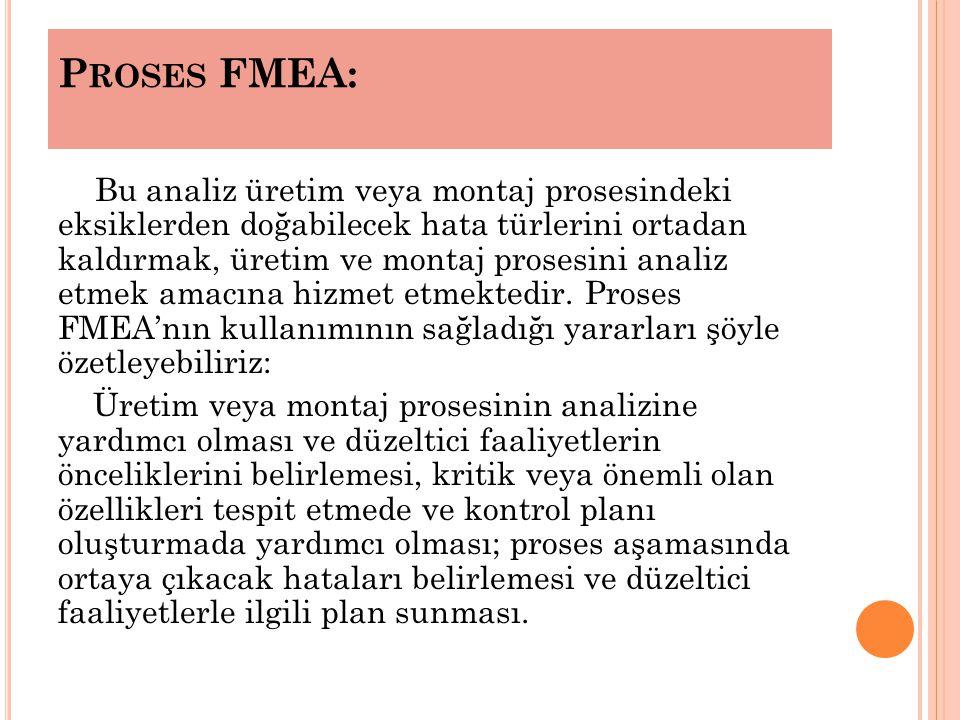 P ROSES FMEA: Bu analiz üretim veya montaj prosesindeki eksiklerden doğabilecek hata türlerini ortadan kaldırmak, üretim ve montaj prosesini analiz etmek amacına hizmet etmektedir.