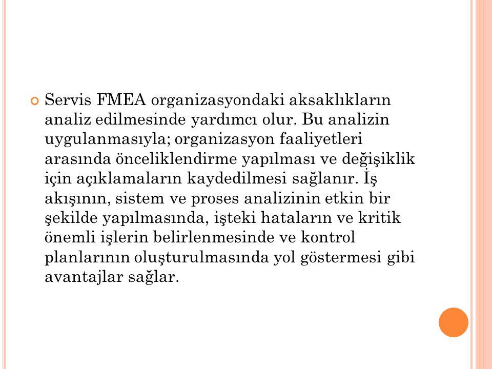 Servis FMEA organizasyondaki aksaklıkların analiz edilmesinde yardımcı olur. Bu analizin uygulanmasıyla; organizasyon faaliyetleri arasında önceliklen