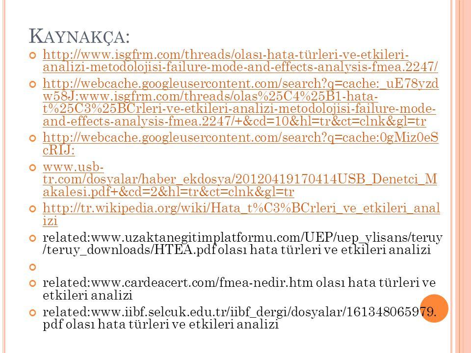 K AYNAKÇA : http://www.isgfrm.com/threads/olası-hata-türleri-ve-etkileri- analizi-metodolojisi-failure-mode-and-effects-analysis-fmea.2247/ http://webcache.googleusercontent.com/search?q=cache:_uE78yzd w58J:www.isgfrm.com/threads/olas%25C4%25B1-hata- t%25C3%25BCrleri-ve-etkileri-analizi-metodolojisi-failure-mode- and-effects-analysis-fmea.2247/+&cd=10&hl=tr&ct=clnk&gl=tr http://webcache.googleusercontent.com/search?q=cache:0gMiz0eS cRIJ: www.usb- tr.com/dosyalar/haber_ekdosya/20120419170414USB_Denetci_M akalesi.pdf+&cd=2&hl=tr&ct=clnk&gl=tr http://tr.wikipedia.org/wiki/Hata_t%C3%BCrleri_ve_etkileri_anal izi related:www.uzaktanegitimplatformu.com/UEP/uep_ylisans/teruy /teruy_downloads/HTEA.pdf olası hata türleri ve etkileri analizi related:www.cardeacert.com/fmea-nedir.htm olası hata türleri ve etkileri analizi related:www.iibf.selcuk.edu.tr/iibf_dergi/dosyalar/161348065979.