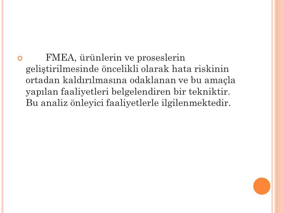 FMEA, ürünlerin ve proseslerin geliştirilmesinde öncelikli olarak hata riskinin ortadan kaldırılmasına odaklanan ve bu amaçla yapılan faaliyetleri bel