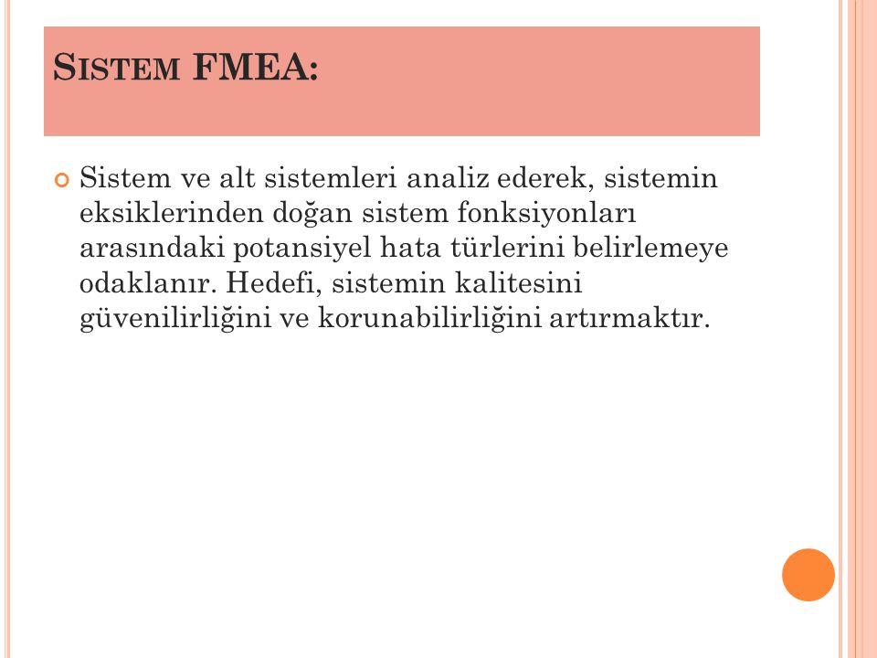 S ISTEM FMEA: Sistem ve alt sistemleri analiz ederek, sistemin eksiklerinden doğan sistem fonksiyonları arasındaki potansiyel hata türlerini belirlemeye odaklanır.