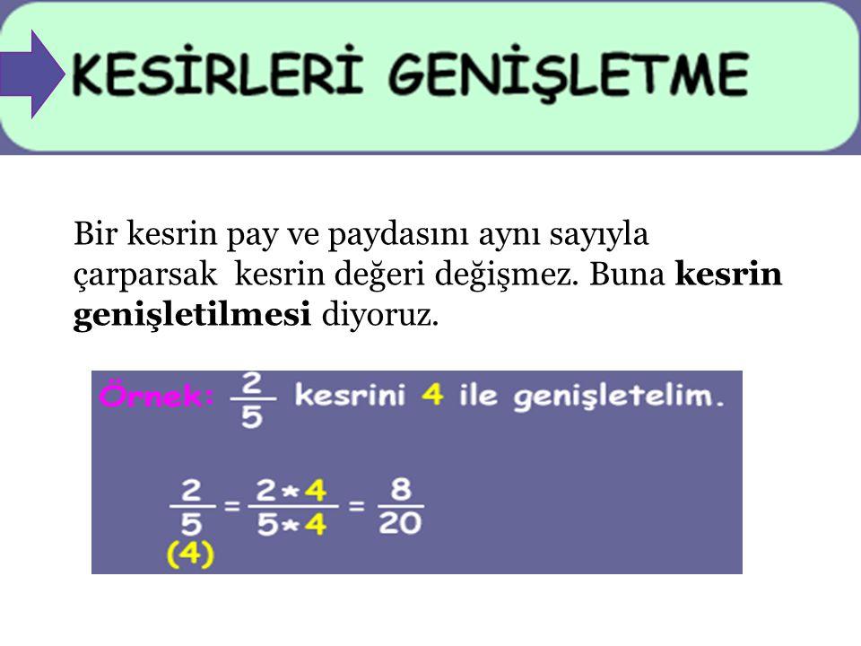 Bir kesrin pay ve paydasını aynı sayıyla çarparsak kesrin değeri değişmez. Buna kesrin genişletilmesi diyoruz.