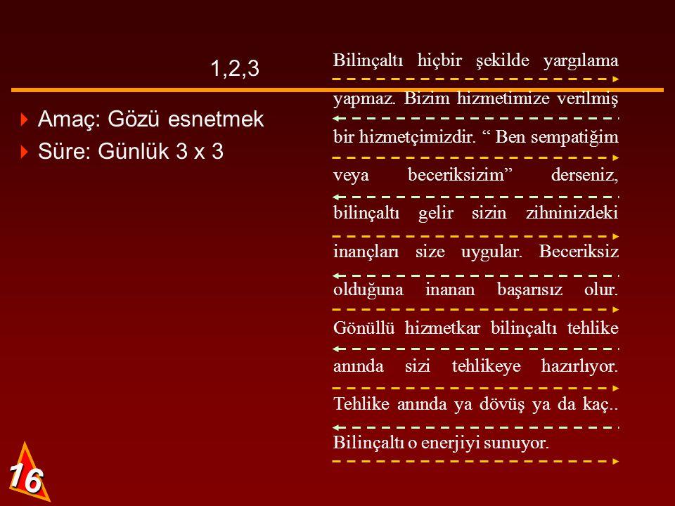 15 AB CD 1,2,3 15  Amaç: Gözü esnetmek  Süre: Günlük 3 x 3