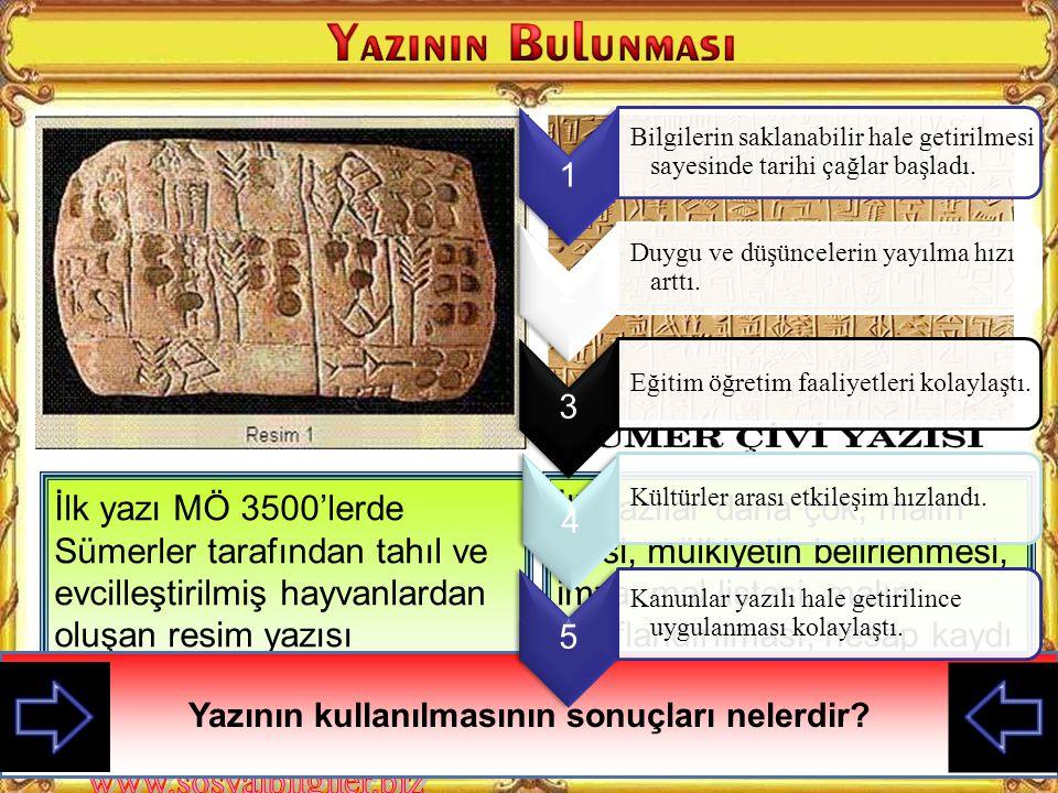 İlk yazı MÖ 3500'lerde Sümerler tarafından tahıl ve evcilleştirilmiş hayvanlardan oluşan resim yazısı şeklindeydi.