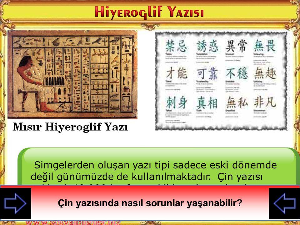 Simgelerden oluşan yazı tipi sadece eski dönemde değil günümüzde de kullanılmaktadır.