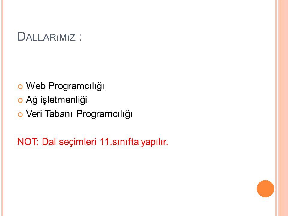 D ALLARıMıZ : Web Programcılığı Ağ işletmenliği Veri Tabanı Programcılığı NOT: Dal seçimleri 11.sınıfta yapılır.