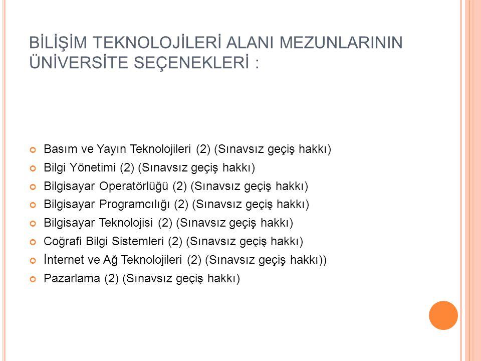 BİLİŞİM TEKNOLOJİLERİ ALANI MEZUNLARININ ÜNİVERSİTE SEÇENEKLERİ : Basım ve Yayın Teknolojileri (2) (Sınavsız geçiş hakkı) Bilgi Yönetimi (2) (Sınavsız