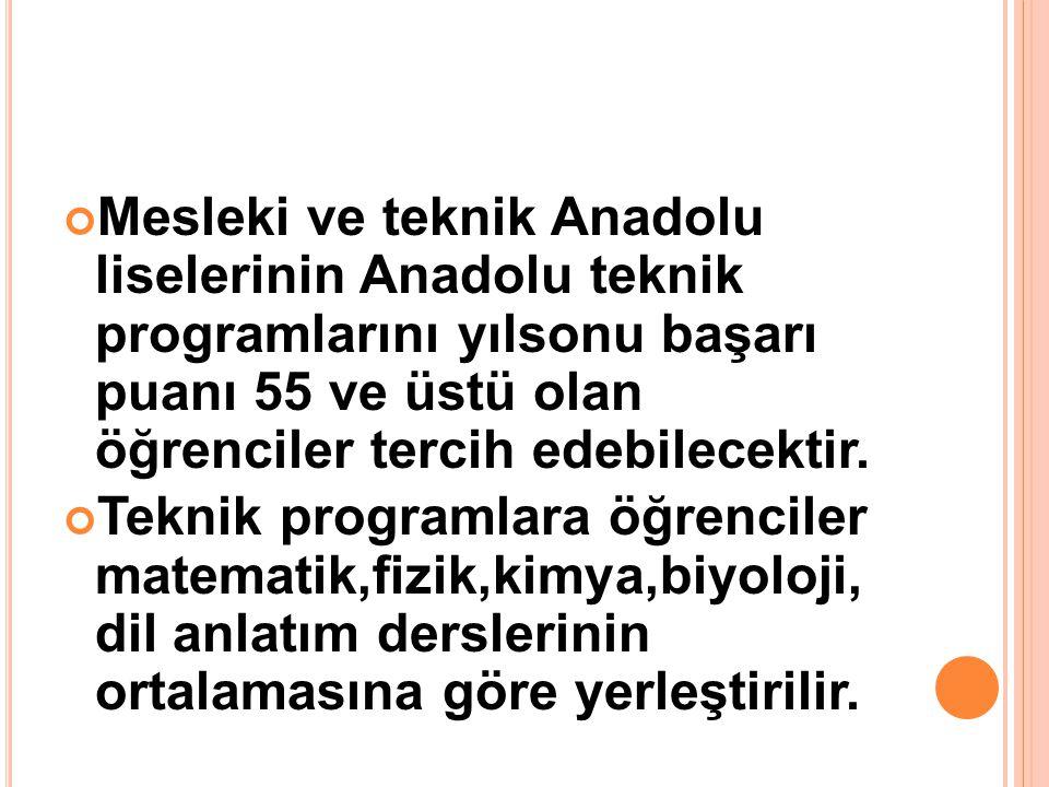 Mesleki ve teknik Anadolu liselerinin Anadolu teknik programlarını yılsonu başarı puanı 55 ve üstü olan öğrenciler tercih edebilecektir. Teknik progra