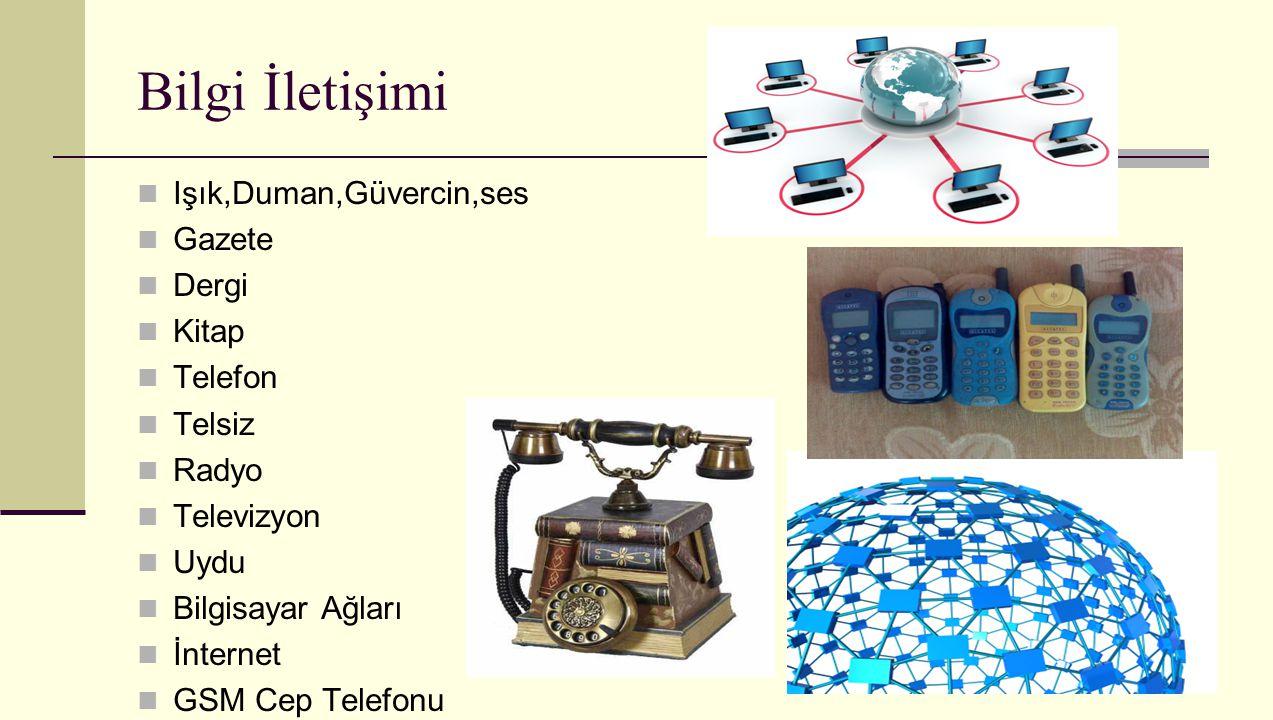 Bilgi İletişimi Işık,Duman,Güvercin,ses Gazete Dergi Kitap Telefon Telsiz Radyo Televizyon Uydu Bilgisayar Ağları İnternet GSM Cep Telefonu