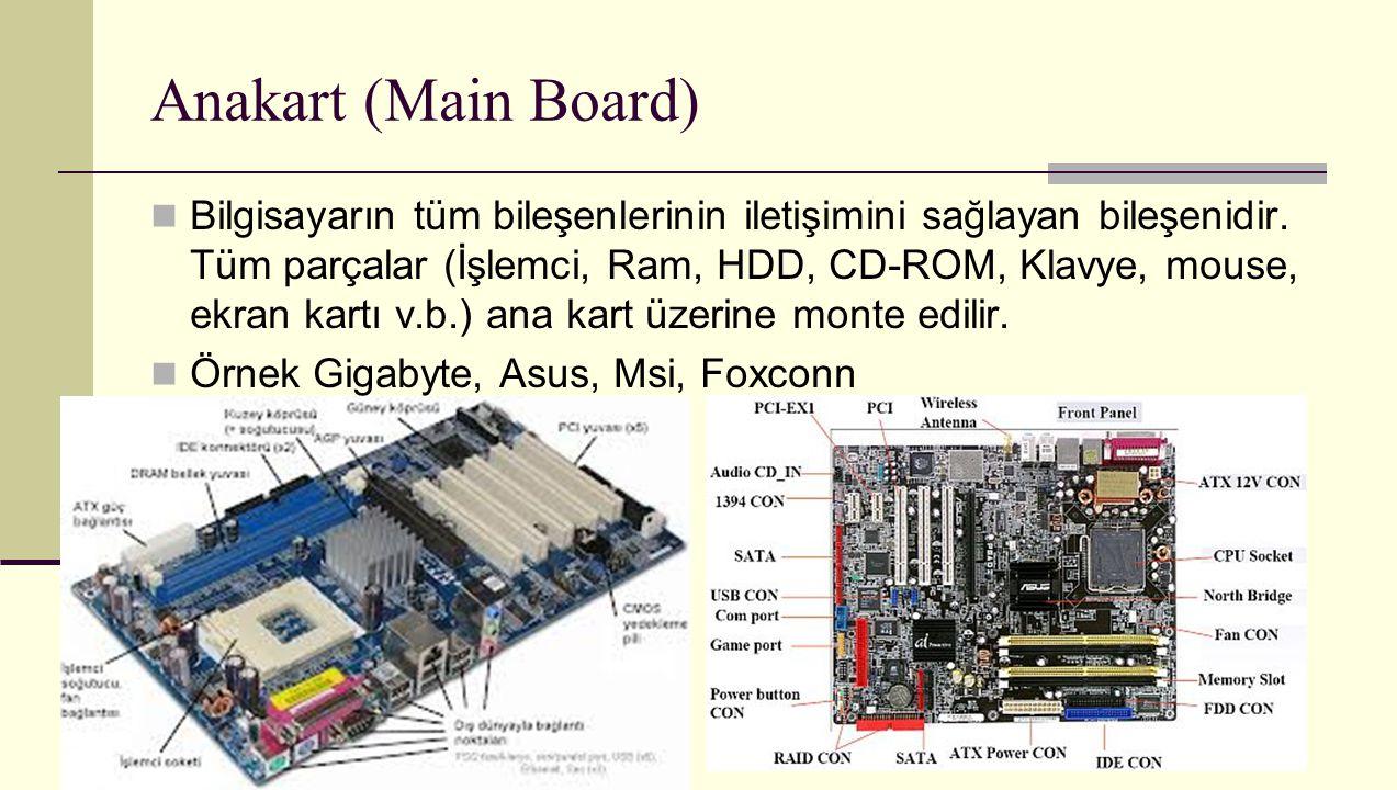 Anakart (Main Board) Bilgisayarın tüm bileşenlerinin iletişimini sağlayan bileşenidir. Tüm parçalar (İşlemci, Ram, HDD, CD-ROM, Klavye, mouse, ekran k