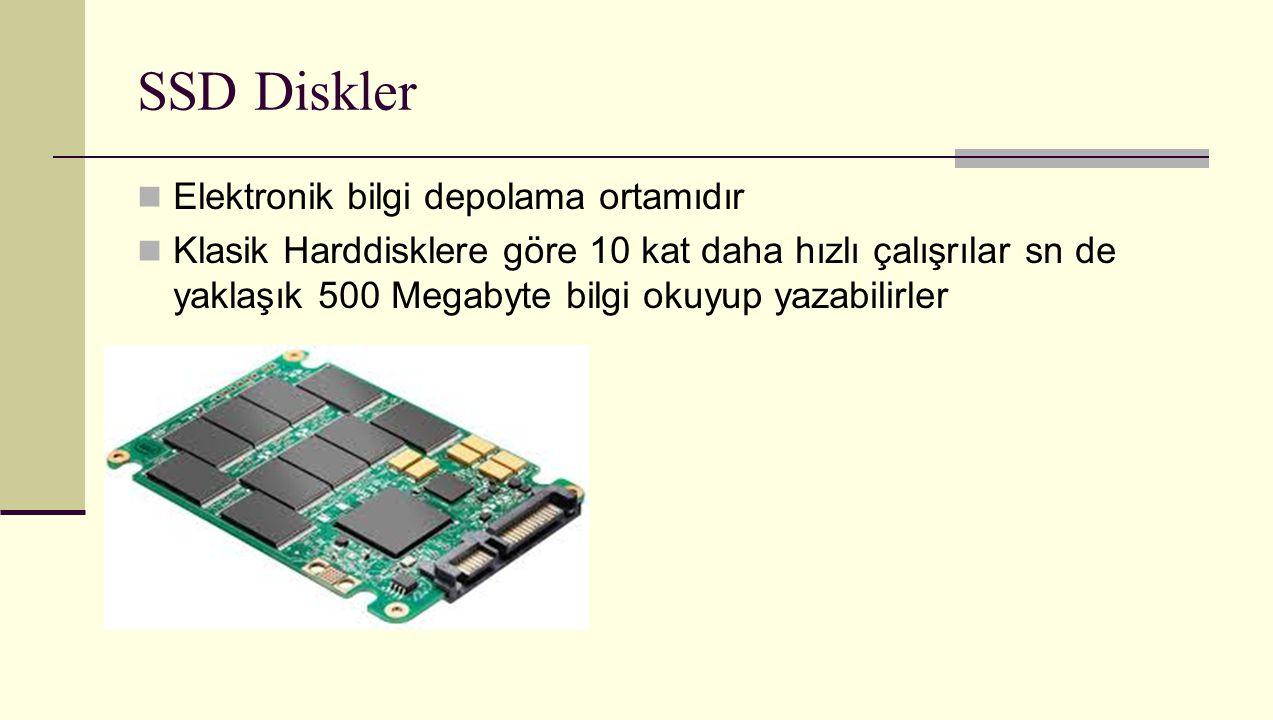 SSD Diskler Elektronik bilgi depolama ortamıdır Klasik Harddisklere göre 10 kat daha hızlı çalışrılar sn de yaklaşık 500 Megabyte bilgi okuyup yazabil