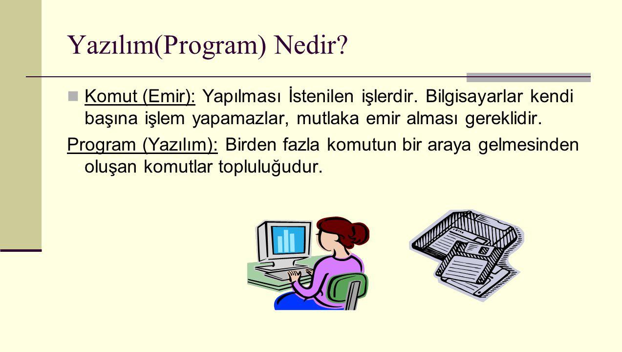 Yazılım(Program) Nedir? Komut (Emir): Yapılması İstenilen işlerdir. Bilgisayarlar kendi başına işlem yapamazlar, mutlaka emir alması gereklidir. Progr