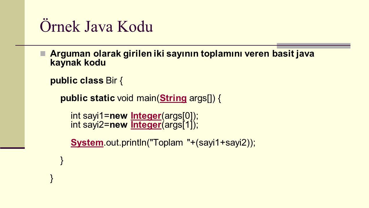Örnek Java Kodu Arguman olarak girilen iki sayının toplamını veren basit java kaynak kodu public class Bir { public static void main(String args[]) {