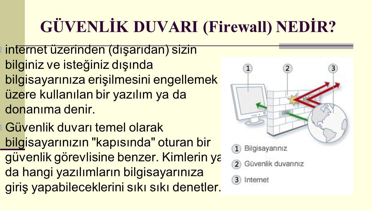 GÜVENLİK DUVARI (Firewall) NEDİR? internet üzerinden (dışarıdan) sizin bilginiz ve isteğiniz dışında bilgisayarınıza erişilmesini engellemek üzere kul