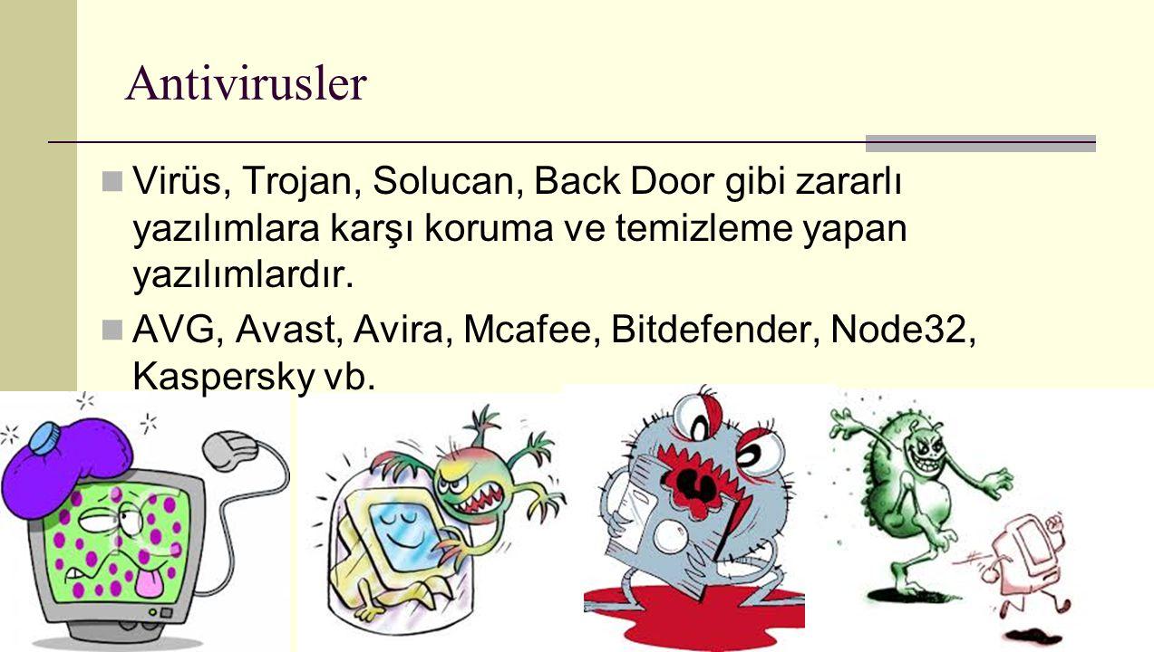 Antivirusler Virüs, Trojan, Solucan, Back Door gibi zararlı yazılımlara karşı koruma ve temizleme yapan yazılımlardır. AVG, Avast, Avira, Mcafee, Bitd